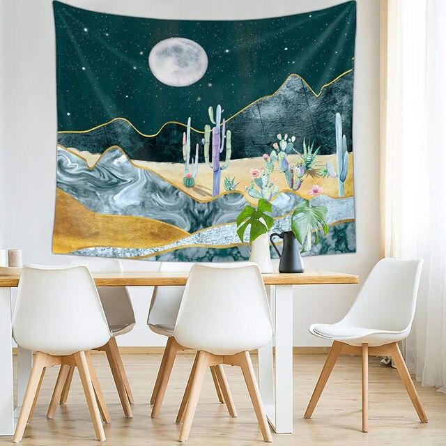 Cactus Permadani Gantung Dinding Bulan dan Kaktus Tanaman Dicetak Dekorasi Cat Air Gurun Permadani untuk Kamar Tidur Kamar Asrama