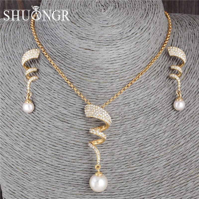 SHUANGR Vintage Imitation Pearl necklace Gold jewelry set for women Clear Crystal Elegant Party Gift Fashion Costume Jewelry Set skull necklace raven skull