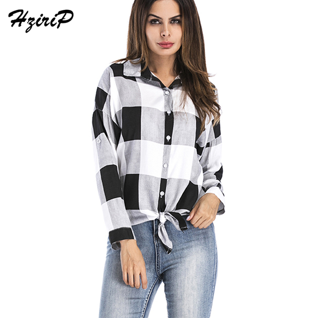 Hzirip New Arrival Women Plaid Shirt Fashion Tops Vintage Long Sleeve 2018  Spring Blouses Spring Casual 140d79ccdf