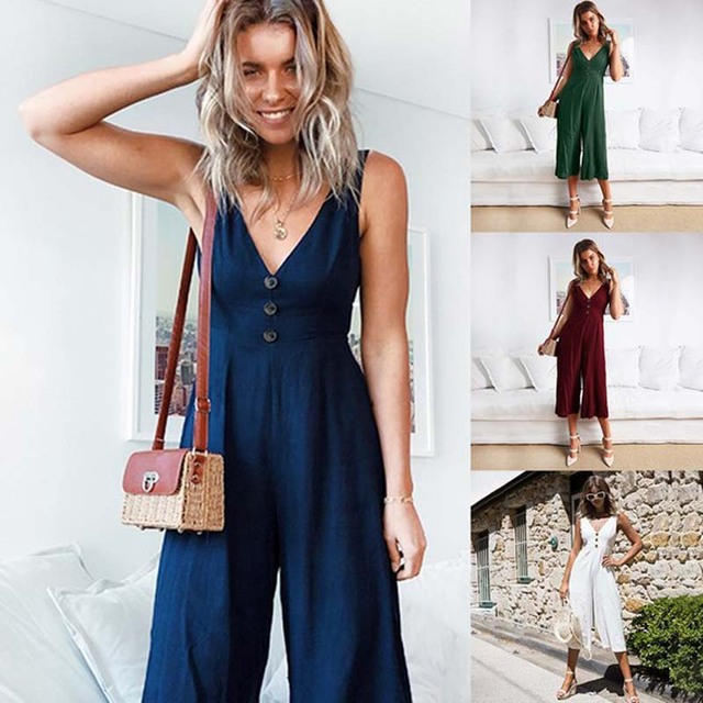 e0b1f6da0a48 Sexy sleeveless jumpsuit women long romper summer trousers green pants lace  up bodysuit beach playsuit coveralls female frock
