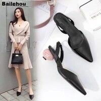 Bailehou Women Sandals Fashion Egg Heel Strange Style Sandal Female Pointy Buckle Med Heel Shoes Office Lady Slip On Mule Shoes