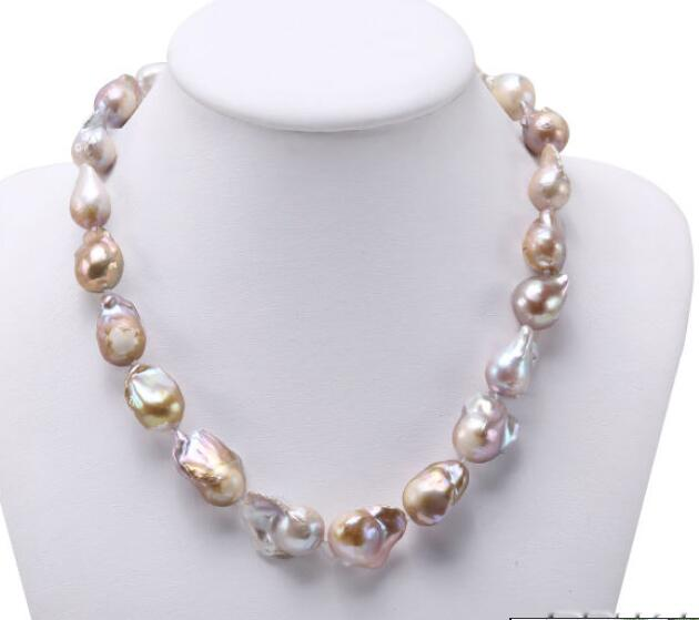 Natural Lavender Baroque Edison Pearl Necklace Women Jewelry >Dongguan girl Store free