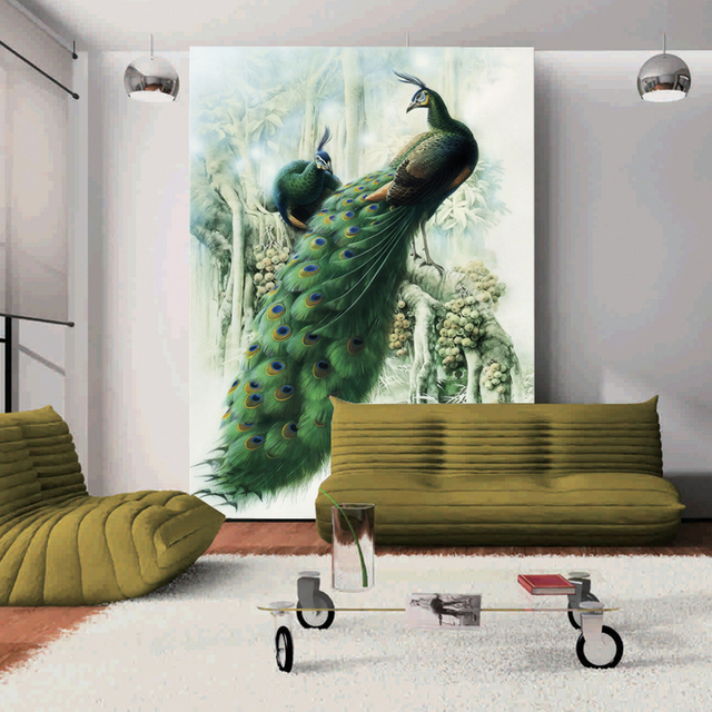 Peacock Large 3d Wall Murals Waterproof Non Woven Photo Wallpapers