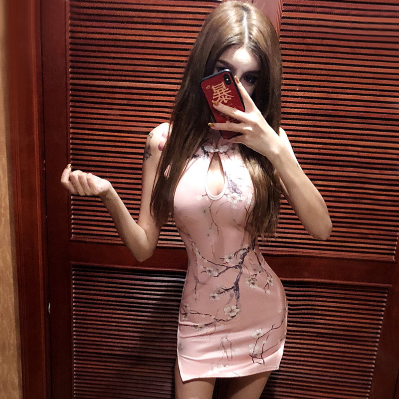 2020 Pink Sexy Chinese Dresses Chinese Pink Qipao Oriental Styled Dresses Satin Chinese Style Modern Cheongsam Oriental