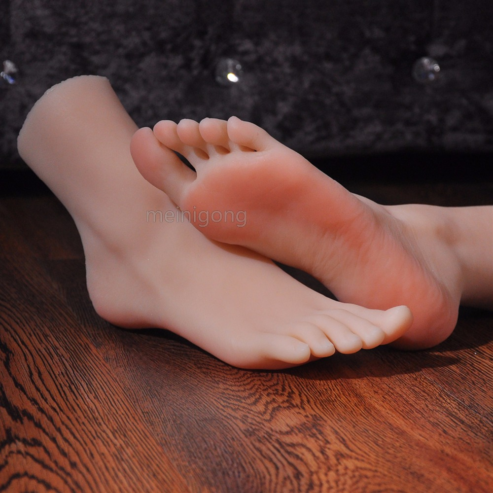 <font><b>2018</b></font> New real leather masturbation japanese silicone full sized false feet foot fetish toy model,silicone foot sexy toy image