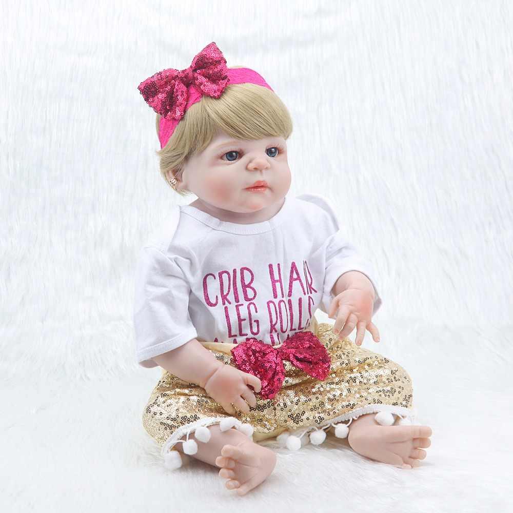 "23 ""57 см Мягкая Кукла reborn body silicone reborn baby dolls принцесса reborn babies с пустышкой живая бутылка bonecas"