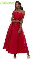 Kırmızı Gelinlik Modelleri Ayak Bileği Uzunluk Tekne Boyun Aplike Lace up Abiye giyim için Kadınlar Uzun Mezuniyet Elbise Artı Boyutu Özel yapılan