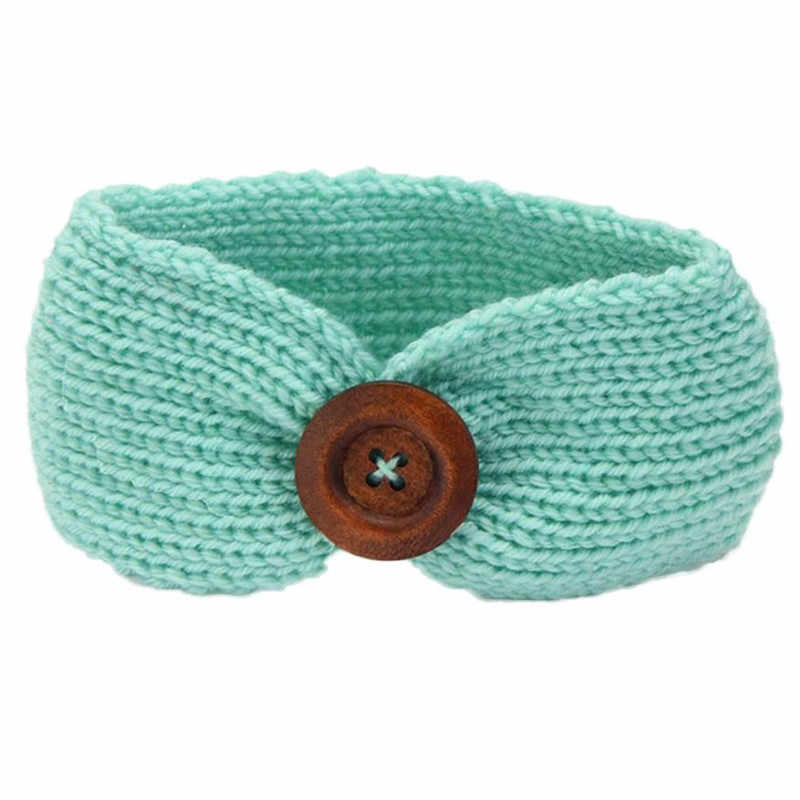 Modern Baby Knitting Infant Kids Girl Button Hairband Phtography Props For (3 months to 4 years old baby) Adjustable 15