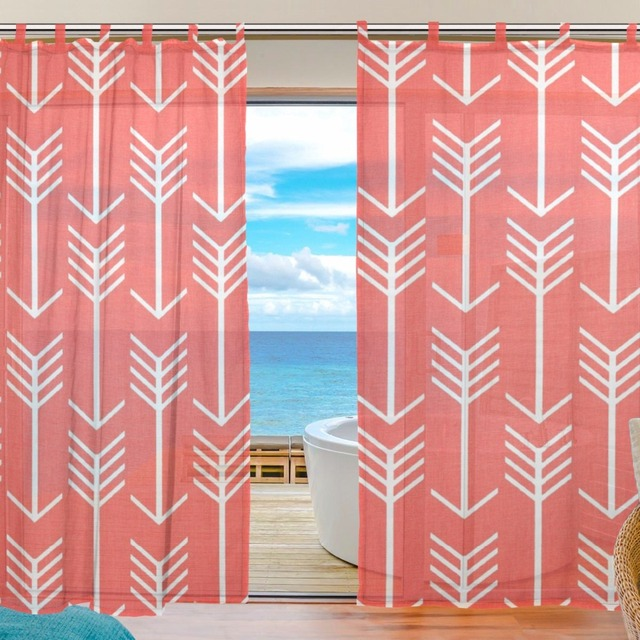 Red Curtains arrow Voile Curtains Bedroom Sheer Curtains for Living ...