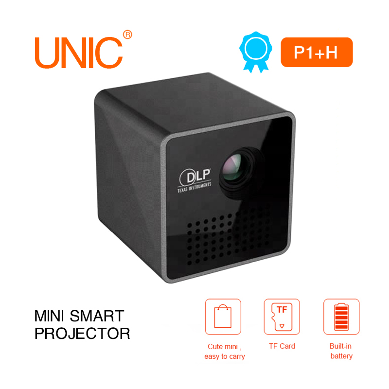 Dernière mise à niveau UNIC Mini projecteur P1 Plus H facile à transporter WiFi DLP projecteur HD projection lecture avec cadeau: carte TF