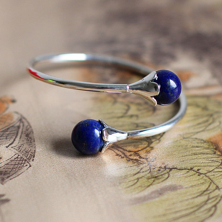 цена на S925 pure silver jewelry fashion lady lapis bracelet So sell like hot cakes