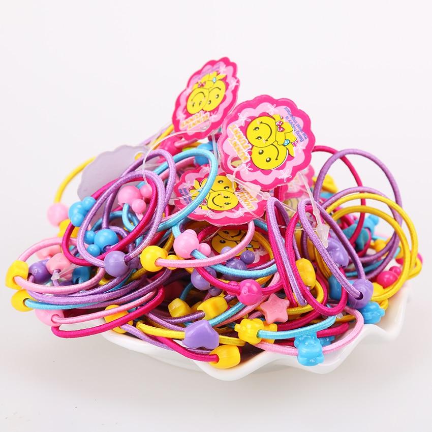 TS 20 pcs High Quality Carton Round Ball Kids Elastic Hair bands Elastic Hair Tie Children Rubber Hair Band