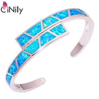 CiNily Ocean Blue Fire Opal piedra brazaletes abiertos Chapado en plata Pulsera ajustable lujo grande primavera joyería Bohemia Boho Mujer