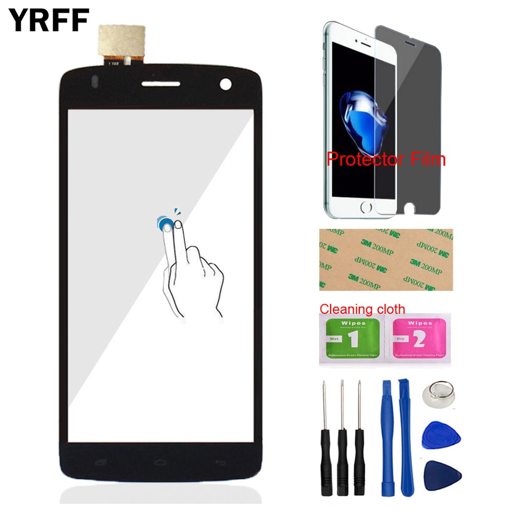 5.0 Front Glass Touch Screen Digitizer Panel Glass Lensor For Fly IQ 4503 Quad ERA Life 6 IQ4503 Tools Protector Film Adhesive