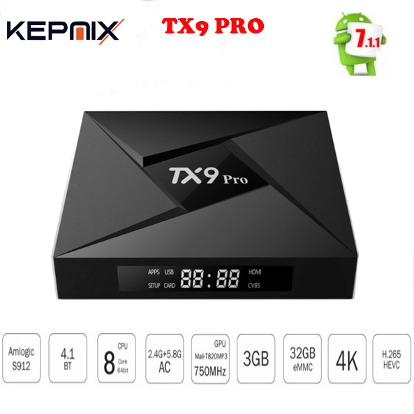 10PCS TX9 Pro TV Box Amlogic S912 Octa-core CPU Android 7.1 OS Bluetooth 4.1 3GB /32G Android tv box set top box VS H96 PRO PLUS 10pcs vontar x92 3gb 32gb android 7 1 smart tv box amlogic s912 octa core cpu 2 4g 5g 4k h 265 set top box smart tv box