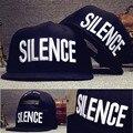 Nova tendência da moda bordado 3d carta silêncio ajustar boné de beisebol snapback caps chapéus de hip hop rua do punk de luxo