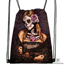 Custom Day of the Dead Skull  DrawstringBackpackBagforMan Woman Cute Daypack Kids Satchel (Black Back) 31x40cm#20180611-03-164