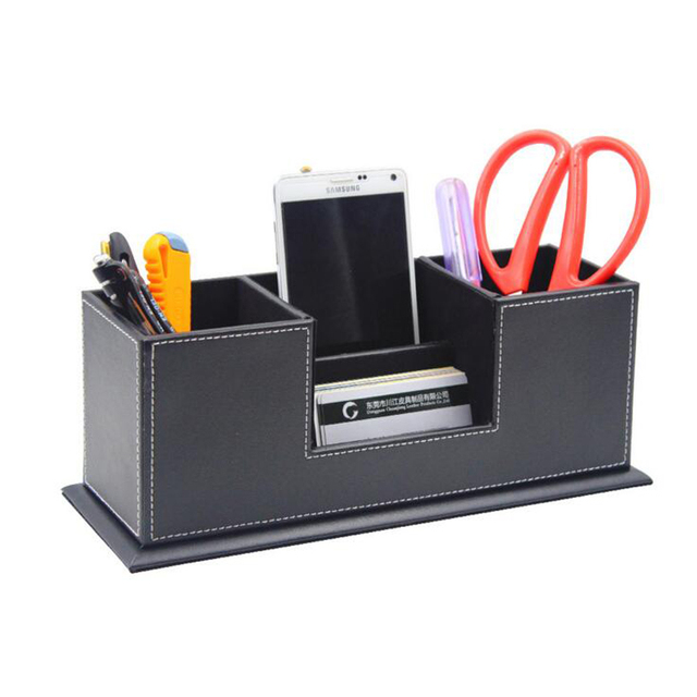 4 Blocks Office Supplies Black Leather Square Pen Holder Pencils Stands Box Desk Stationery Organizer