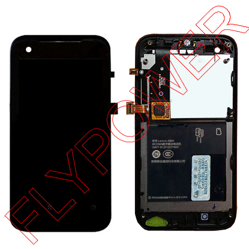 FOR Lenovo A660 LCD Display +Digitizer touch Screen Assembly with frame/bezel Black Color by Free shipping; 100% warranty