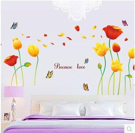 170*100cm Elegant Flower Wall Stickers Graceful butterflies Wall Stickers Furnishings Romantic Living Room Decoration