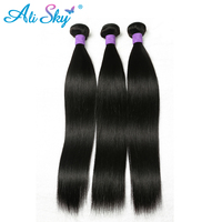 Ali Sky Remy Hair Bundles Straight Peruvian Hair Weave Bundles 100% Human Hair Weaving 1 Piece Only Natural Color(#1B) No Tangle