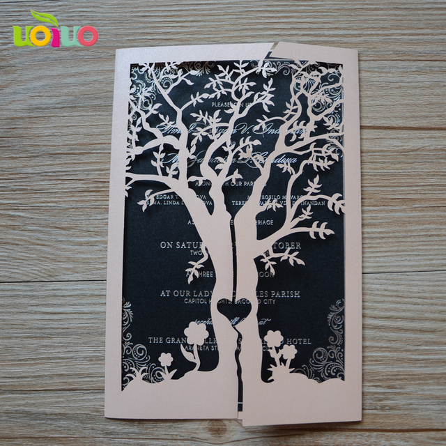 Nice Blush Laser Cut Tree Wedding Invitation Cards Ribbon Available