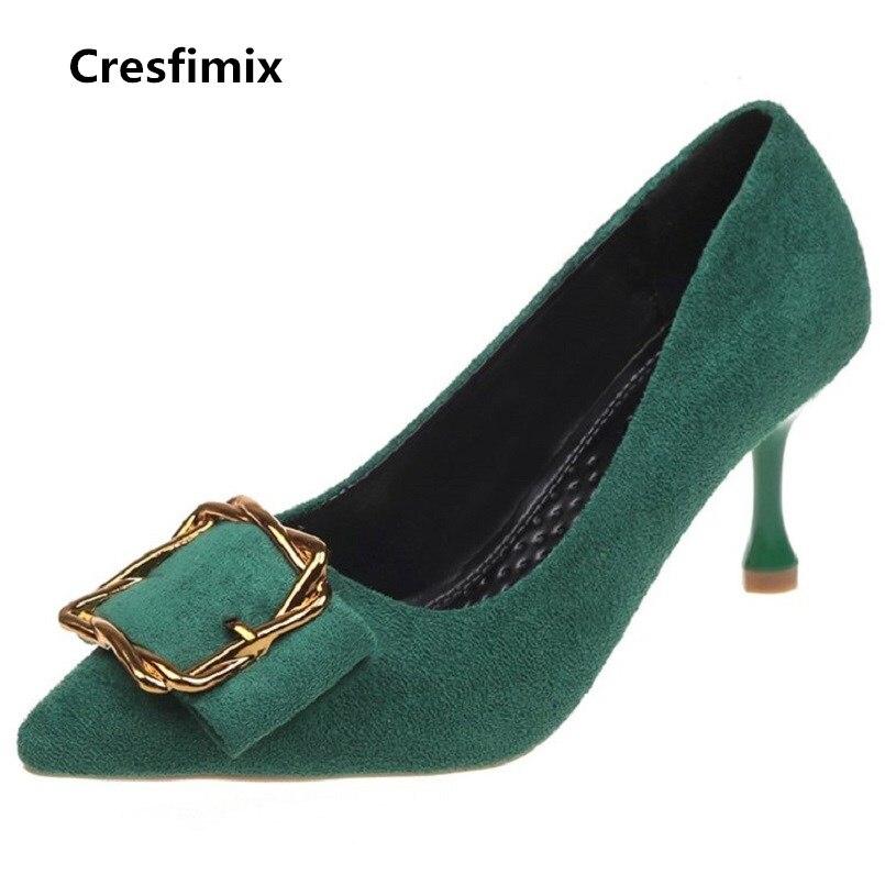 recogido zapatos de otoño cliente primero Cresfimix tacones altos women casual high quality spring & summer green  high heel shoes lady fashion cool stylish shoes b2954