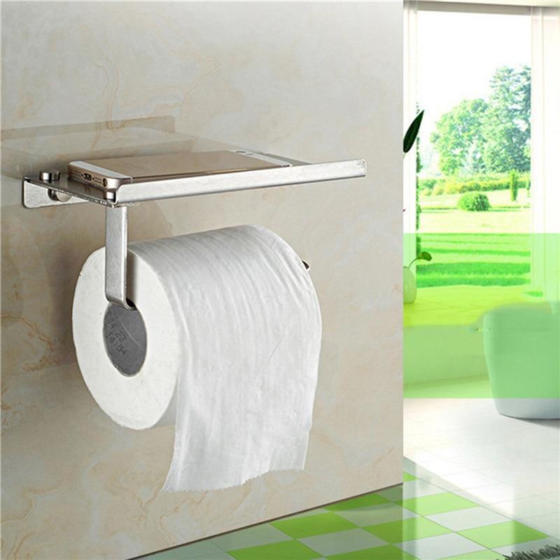 304 Stainless Steel Bathroom Paper Roll Holder With Phone Shelf Toilet Paper Holder Tissue Box Bathroom Mobile Phone Towel Rack