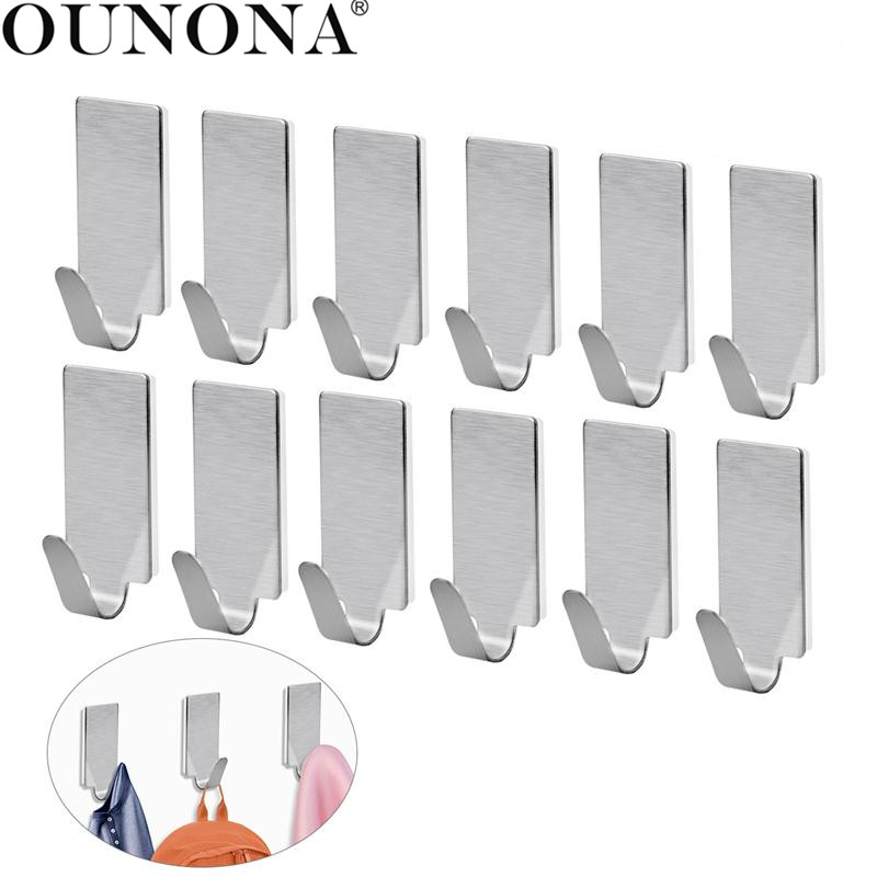OUNONA Stainless Steel Wall Hooks Hanger Self Adhesive Coat Hanger Towel Hooks Wall Mounted For Bathroom Kitchen Home