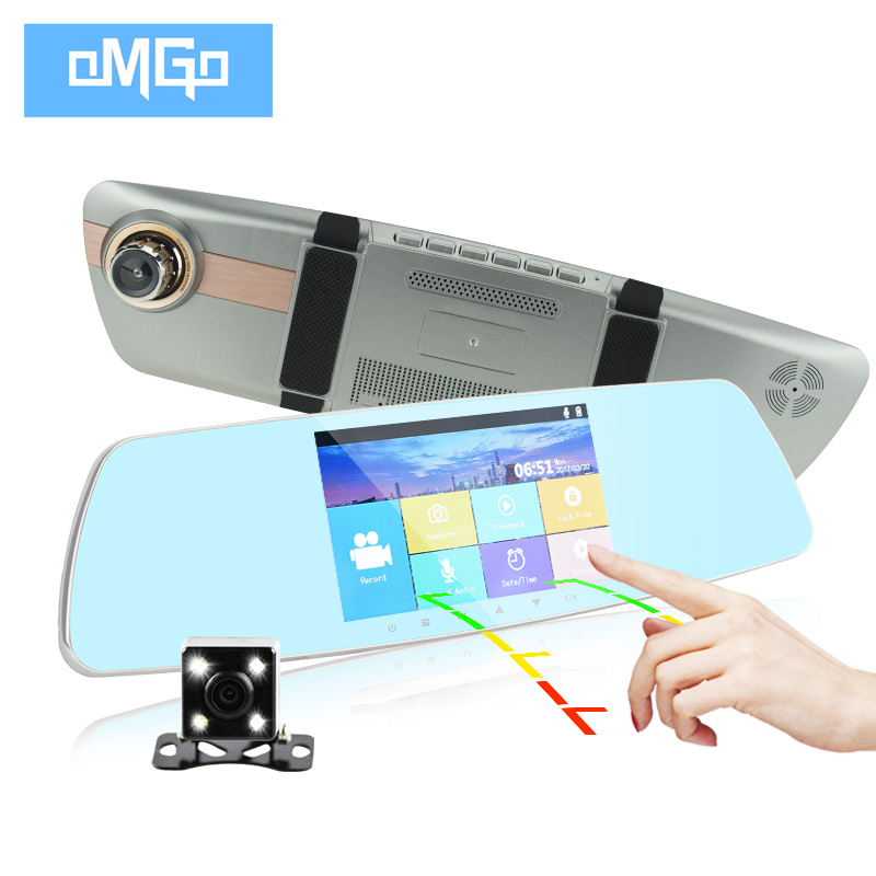 Full hd1080p night vision dash cam dual lens car camera 5 inch IPS Touch Screen rearview