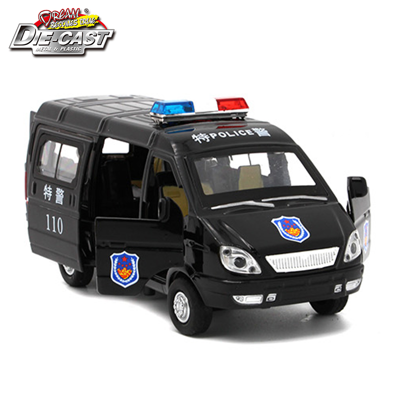 1/32 Scale Diecast Russian GAZ Gazel Police Ambulance Model Car For Boys Or Kids As Toys With Music/Light/Pull Back Function