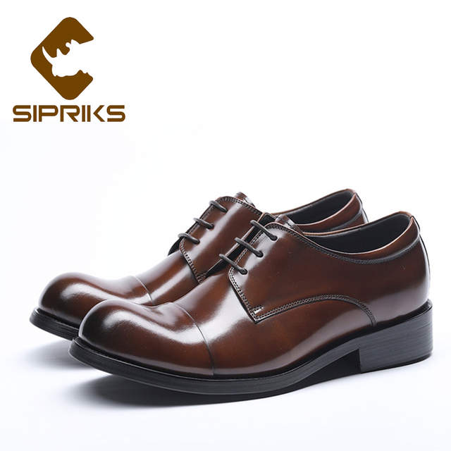 US $68.25 9% OFF Sipriks Mens Classic Church Shoes Cow Leather Brown Dress Shoes Round Toe Business Office Gents Suit Wedding Social Shoes Big 44 in