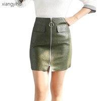 Women PU Leather Bodycon Mini Skirt 2017 Female Green Black Autumn Winter High Waist Punk Skirt