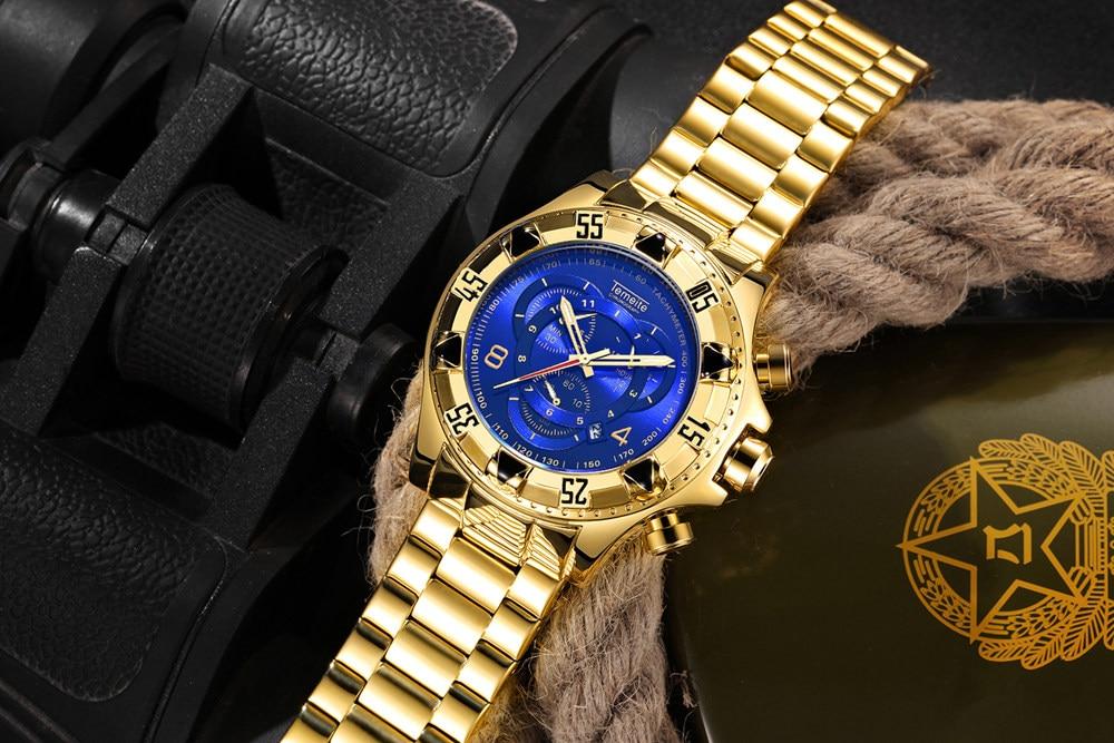 19 Top Brand Luxury Mens Oversize Watch Gold Business Steel Quartz Clock Waterproof Sport Military Chronograph Male Wristwatch 24