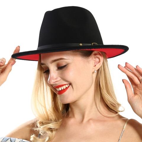 QIUBOSS Black Red Patchwork Wool Felt Jazz Fedora Hats Belt Buckle Decor Women Unisex Wide Brim Panama Trilby Cowboy Cap Sunhat Lahore