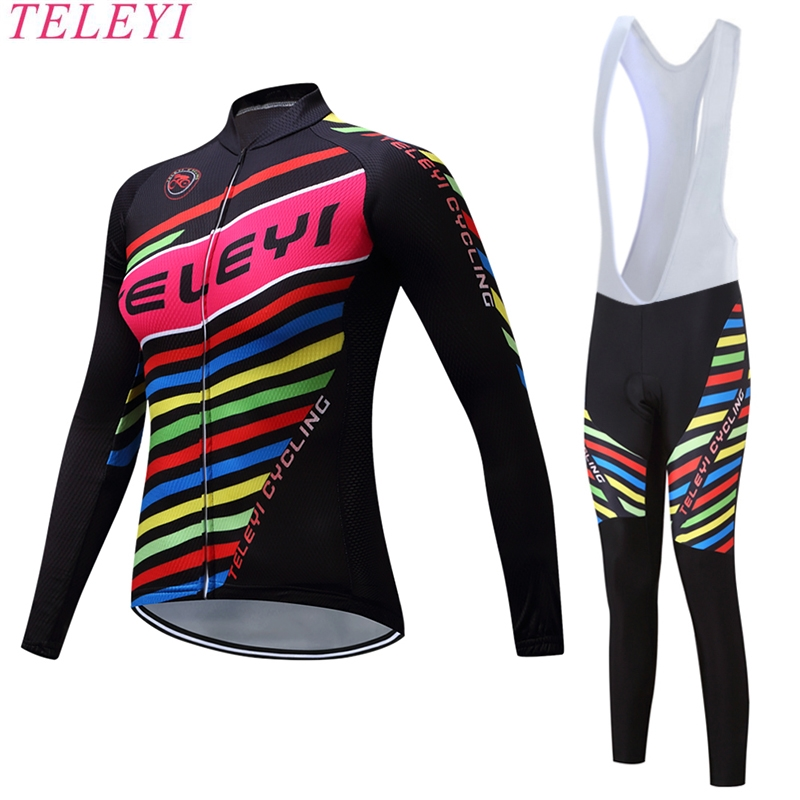 teleyi Sports Long Sleeve Breathable Cycling Jerseys Sets Women Riding Mountain Road Bike Clothing Full Pants with Gel Padded