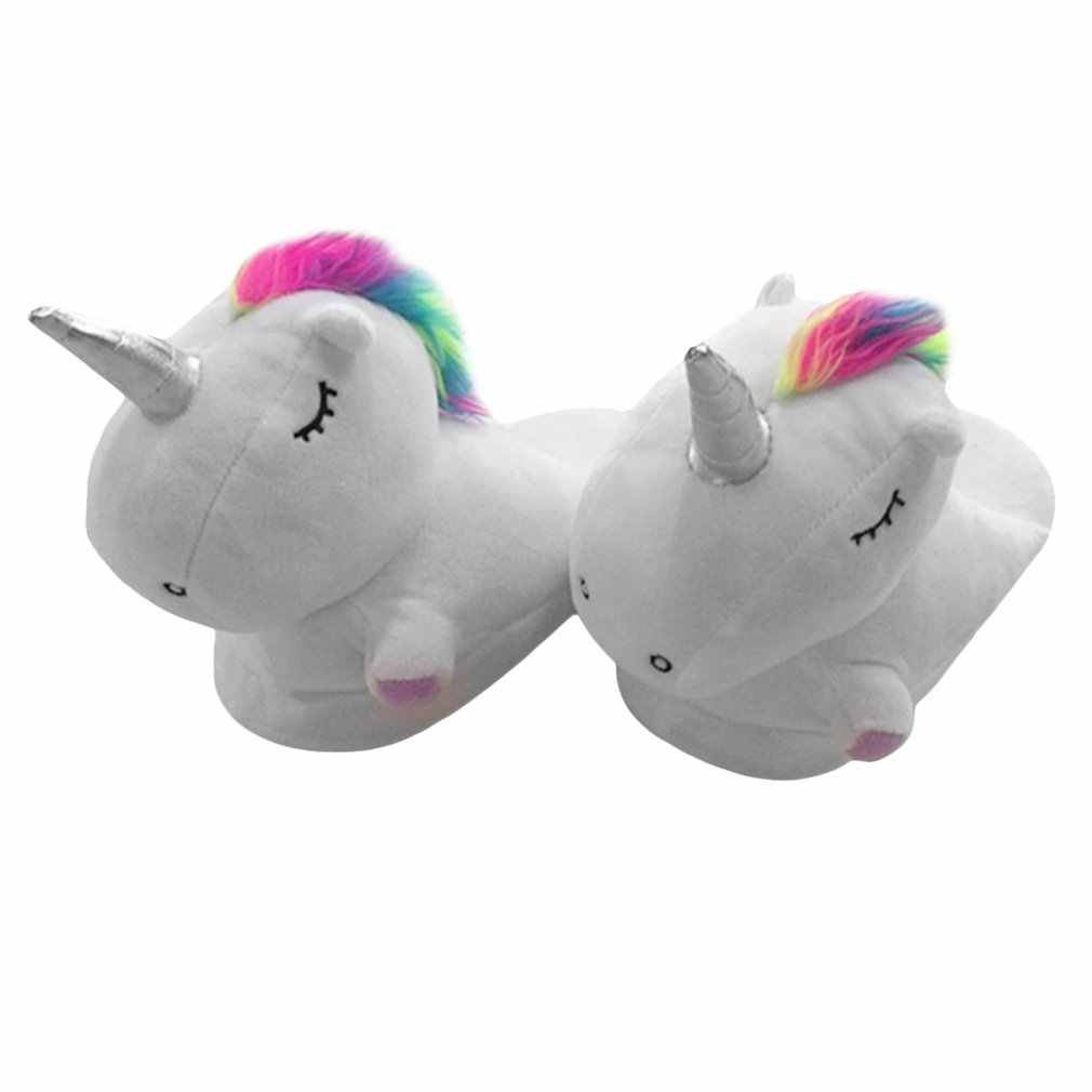 fc88bba193a Detail Feedback Questions about Plush Unicorn Slippers Adult Women 2018  Girls Unisex Home Indoor Chausson Licorne Shoes Bedroom Fluffty Warm Winter  Soft ...