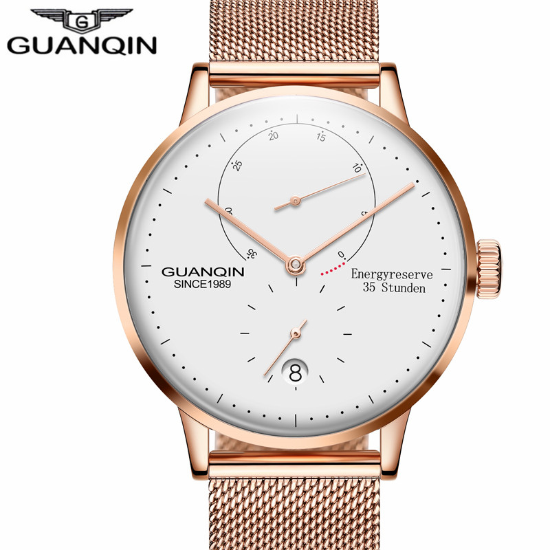GUANQIN Ultra thin Fashion Male Wristwatch Leather Watchband Business Watches Waterproof Scratch resistant Men Watch Clock-in Mechanical Watches from Watches    1
