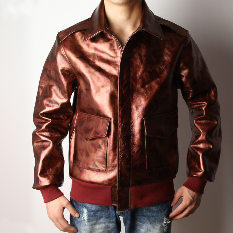 Free shipping.Brand classic A2 oil wax cowhide coat,mens 100% genuine leather Jackets,Camouflage man slim style jacket,quality