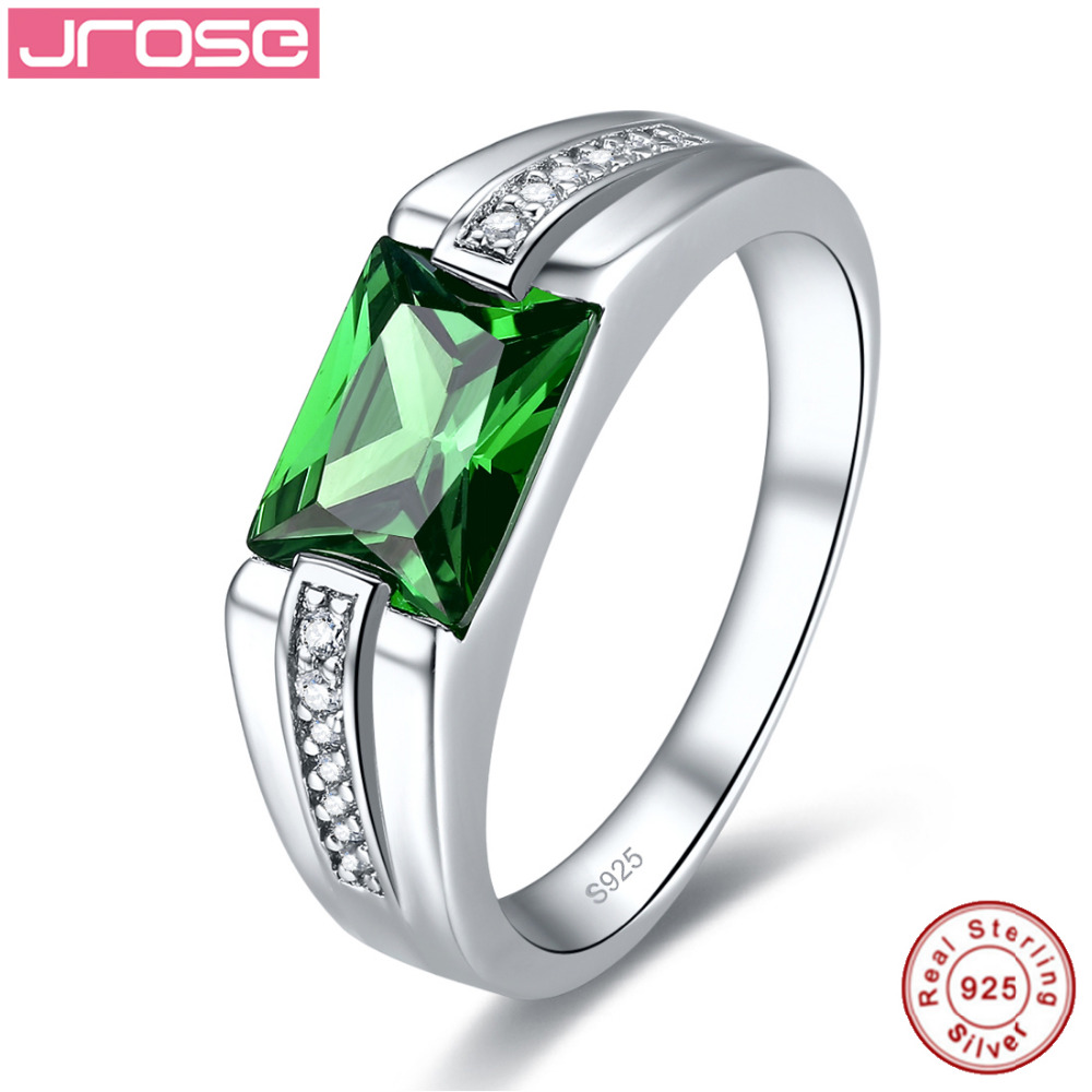 Jrose 2.49 Carats 925 Sterling Silver Ring Women Created Emerald Wedding Party Trendy Jewelry Accessories Gift box