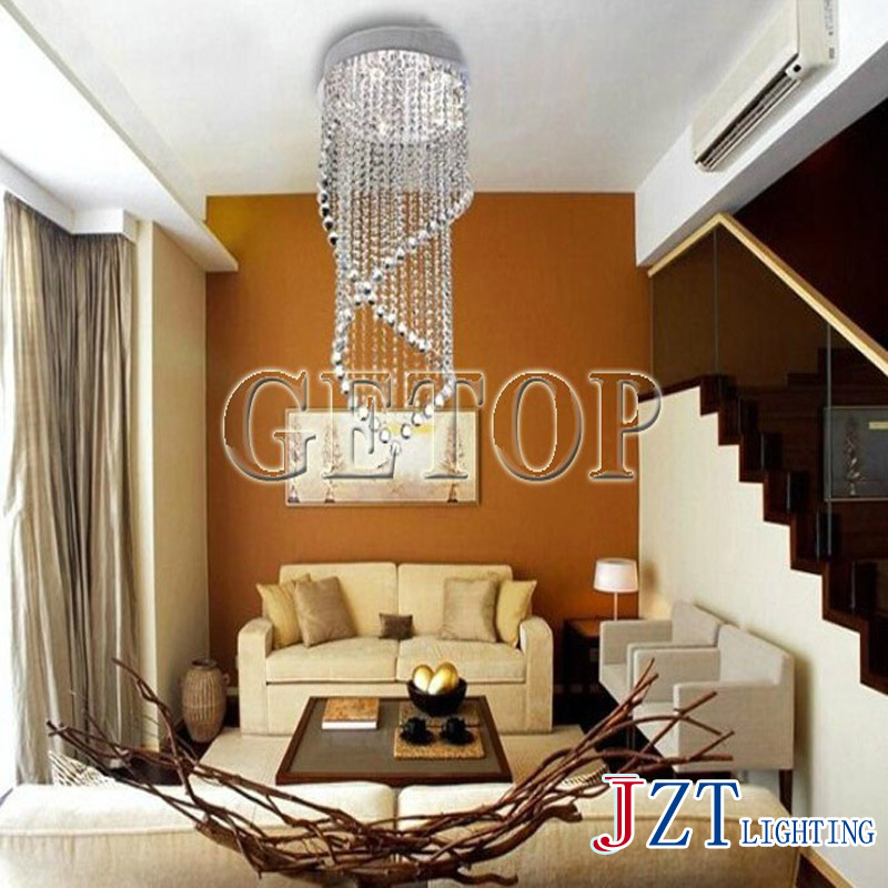 J best price Double Entry Stair Large Hanging LED Pendant Light Bubble Column K9 Crystal Droplight Stainless creative droplight z best price led downlight droplight double ball stair crystalline light creative bar hotel led crystal chandelier parts