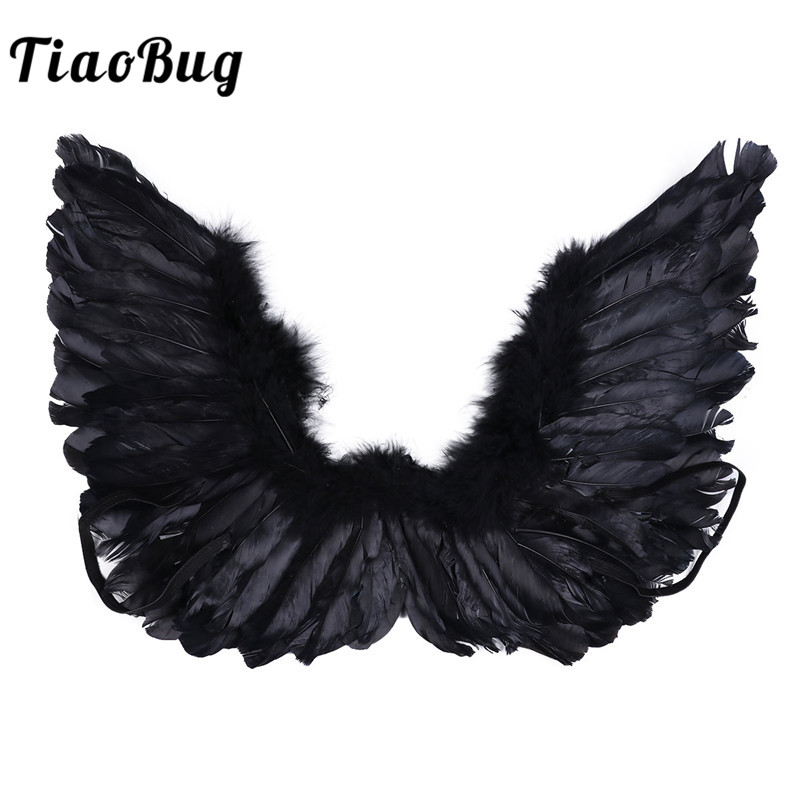TiaoBug Adult Kids Black Angel Fairy Feather Wings Dance Party Cosplay Costume Stage Show Masquerade Carnival Halloween Costume
