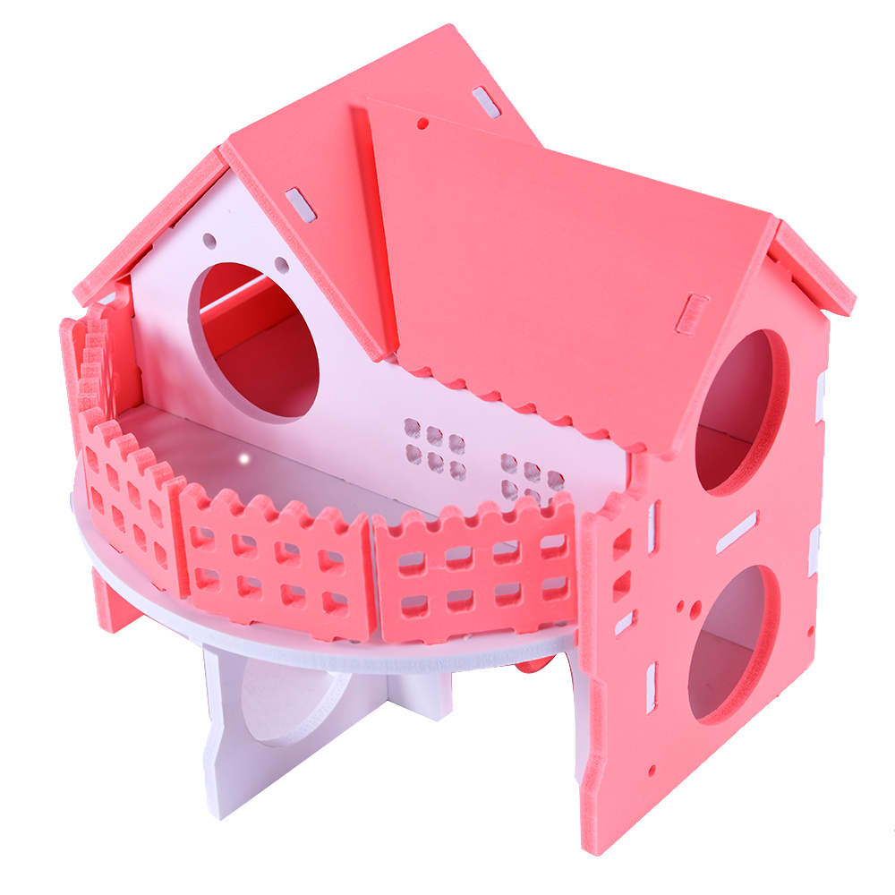 Wooden House Guinea Pig Mice Stairs Cockloft Small Pet Playing Watching Stage Wooden Cages Hamster  (15)