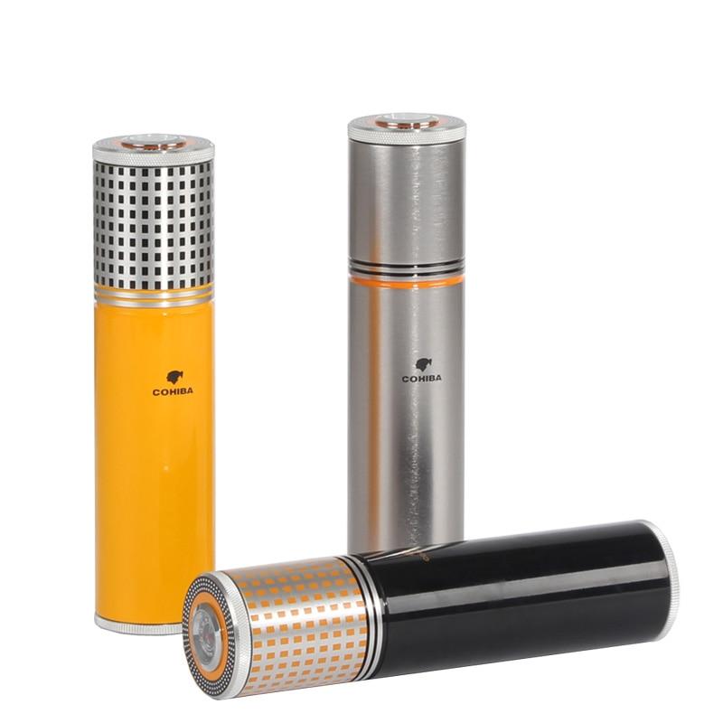 Cohiba Cigar Tube Travel Humidor Portable Aluminum Cigars Jar Outdoor Cigar Humidor Storage Box With Hygrometer Humidifier