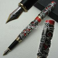 אדום סיני קלאסי אפור כבד Jinhao הדרקון ופניקס מזל קליפ עט נובע
