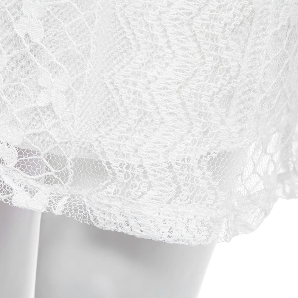VESTLINDA Lace Dress Women O Neck Sleeveless Solid White Dress Summer 2017 Fresh Style Loose Mini Short Dress Vestidos Plus Size 15
