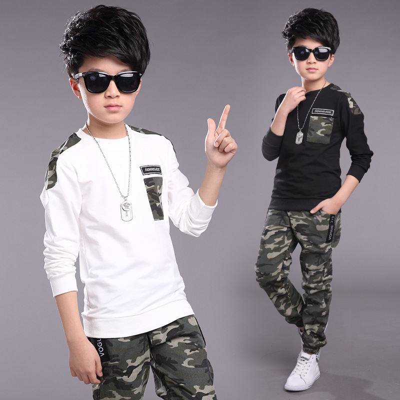 Children Clothing Sets For Boys Camouflage Sports Suits Spring Kids Tracksuits 2017 Teenage Boys Sportswear 4 6 8 9 10 12 Years children s clothing 2017 spring camouflage set teenage boys clothes child spring