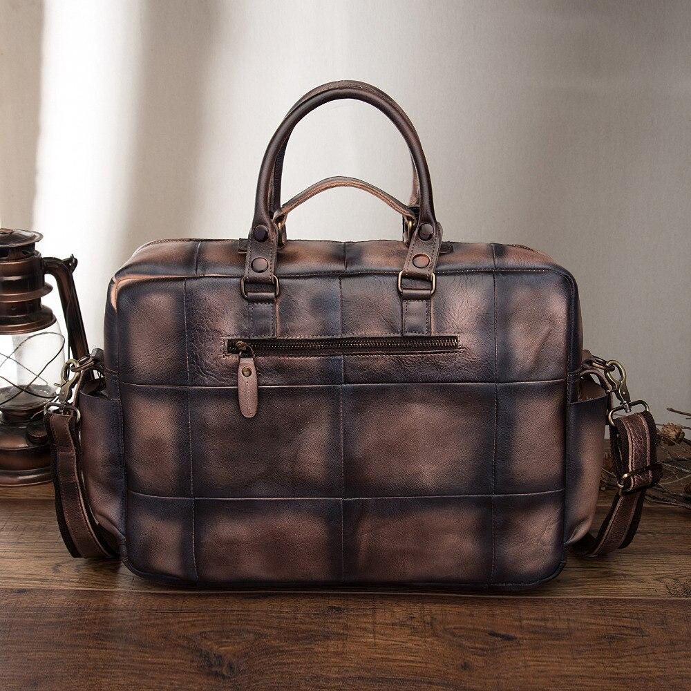 Оригинальный кожаный антикварный большой вместительный мужской портфель бизнес 15,6 чехол для ноутбука Attache сумка портфель 3061db - 4