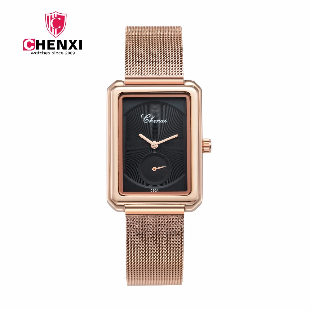 CHENXI Rose Gold Women Watch Fashion Dress Square Quartz Wrist Watches for Women Brand Luxury Ladies Watch Clock Montre Femme luxury brand fashion casual ladies watch women rhinestone watches dress rose gold quartz female clock montre femme relojes mujer