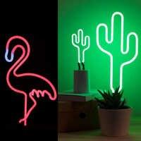Retro Flamingo Cactus Neon Sign Reale Tubo di Vetro Artigianato Partito Complementi Arredo Casa HA CONDOTTO LA Luce Del Tubo di Alimentazione USB Da Tavolo Ha Condotto La Lampada di Illuminazione